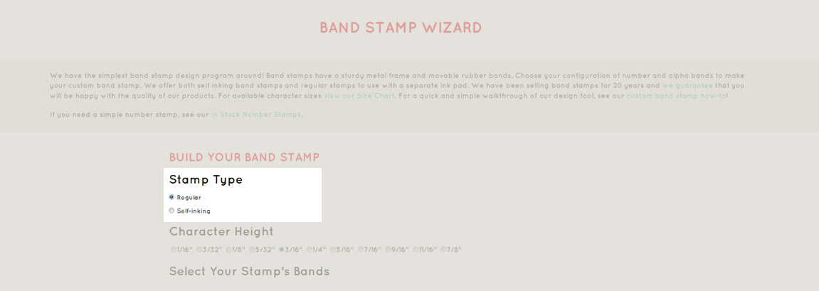 Chose your band stamp type