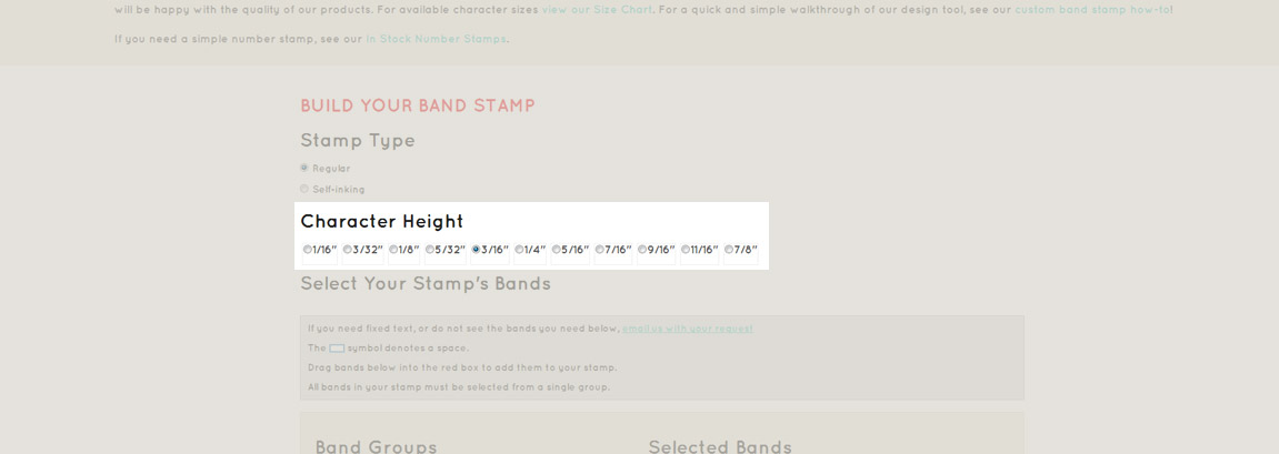 Choose your band stamp band size