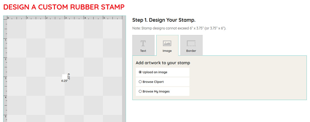 Custom stamp artwork upload step 1
