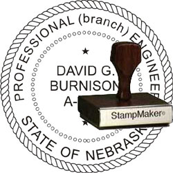 Engineer Seal - Wood Stamp - Nebraska