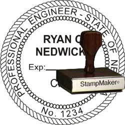 Engineer Seal - Wood Stamp - Nevada