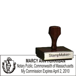 Notary Wood Rectangle - Massachusetts