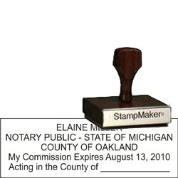 Notary Stamp - Wood Rectangle - Michigan