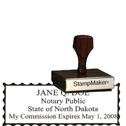 Notary Wood Rectangle - North Dakota