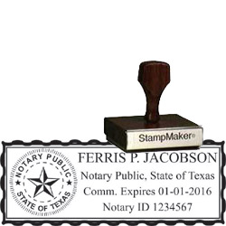 Notary Wood Rectangle - Texas