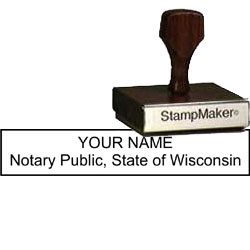 Notary Wood Rectangle - Wisconsin
