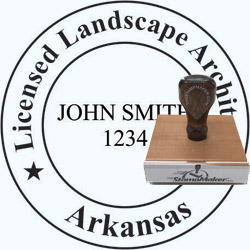 Landscape Architect Seal - Wood Stamp - Arkansas