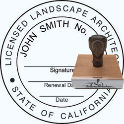 Landscape Architect Seal - Wood Stamp - California