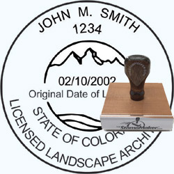 Landscape Architect Seal - Wood Stamp - Colorado
