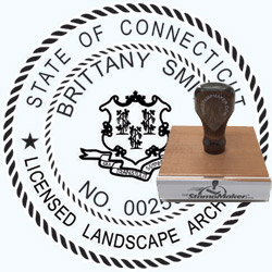 Landscape Architect Seal - Wood Stamp - Connecticut