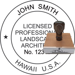 Landscape Architect Seal - Wood Stamp - Hawaii