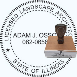 Landscape Architect Seal - Wood Stamp - Illinois