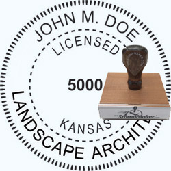Landscape Architect Seal - Wood Stamp - Kansas