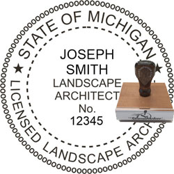 Landscape Architect Seal - Wood Stamp - Michigan