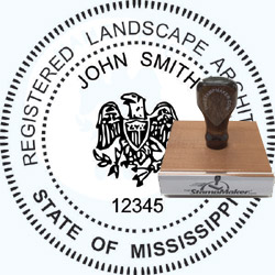 Landscape Architect Seal - Wood Stamp - Mississippi