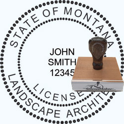 Landscape Architect Seal - Wood Stamp - Montana