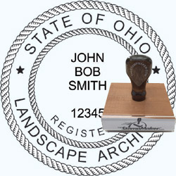 Landscape Architect Seal - Wood Stamp - Ohio