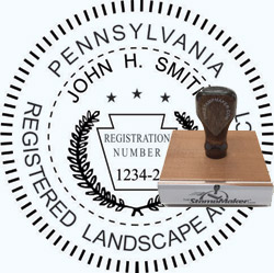 Landscape Architect Seal - Wood Stamp - Pennsylvania