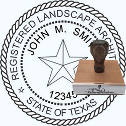Landscape Architect Seal - Wood Stamp - Texas
