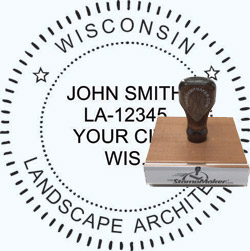 Landscape Architect Seal - Wood Stamp - Wisconsin