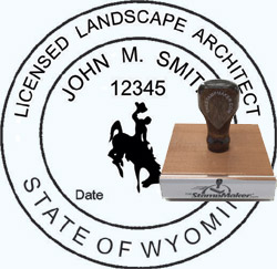 Landscape Architect Seal - Wood Stamp - Wyoming