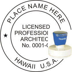 Architect Seal - Pre Inked Stamp - Hawaii