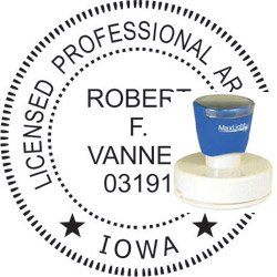 Architect Seal - Pre Inked Stamp - Iowa