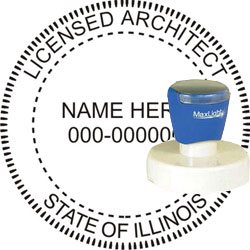 Architect Seal - Pre Inked Stamp - Illinois