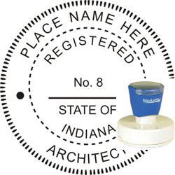 Architect Seal - Pre Inked Stamp - Indiana