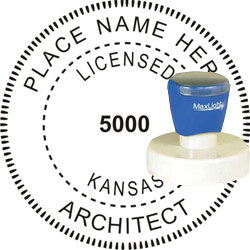 Architect Seal - Pre Inked Stamp - Kansas