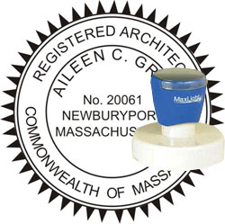 Architect Seal - Pre Inked Stamp - Massachusetts