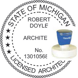 Architect Seal - Pre Inked Stamp - Michigan