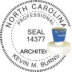 Architect Seal - Pre Inked Stamp - North Carolina