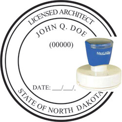 Architect Seal - Pre Inked Stamp - North Dakota