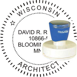 Architect Seal - Pre Inked Stamp - Wisconsin
