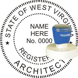 Architect Seal - Pre Inked Stamp - West Virginia