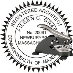 Architect Seal - Desk Top Style - Massachusetts