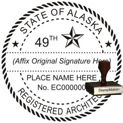 Architect Seal - Wood Stamp - Alaska