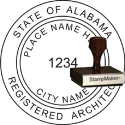 Architect Seal - Wood Stamp - Alabama