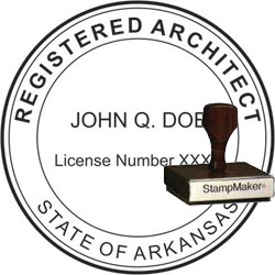 Architect Seal - Wood Stamp - Arkansas