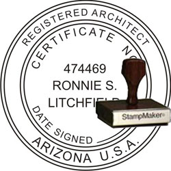 Architect Seal - Wood Stamp - Arizona