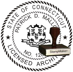 Architect Seal - Wood Stamp - Connecticut