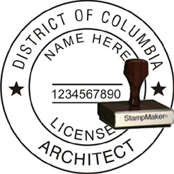 Architect Seal - Wood Stamp - Dist of Columbia