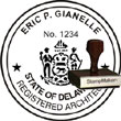 Architect Seal - Wood Stamp - Delaware ARCHITECT_STAMP_WOOD_DELAWARE