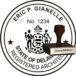 Architect Seal - Wood Stamp - Delaware