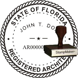 Architect Seal - Wood Stamp - Florida