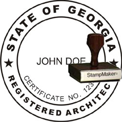 Architect Seal - Wood Stamp - Georgia