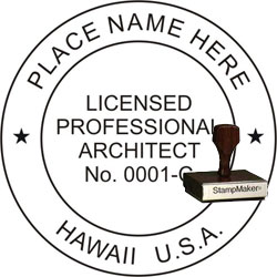 Architect Seal - Wood Stamp - Hawaii