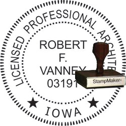 Architect Seal - Wood Stamp - Iowa
