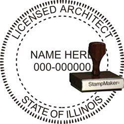 Architect Seal - Wood Stamp - Illinois